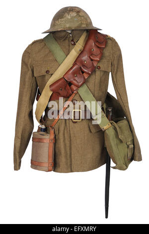 Tunic and equipment as used by British cavalry soldiers during the last two years of the Great War. WW1. - Stock Photo