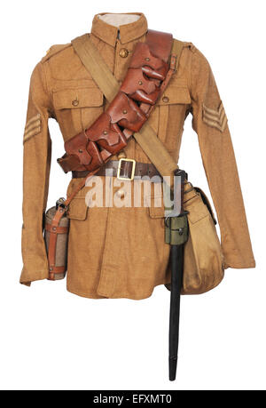 Tunic and equipment as used by British cavalry soldiers during the early years of the Great War. WW1. - Stock Photo