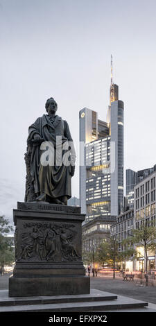 Goethe Statue, Commerzbank, City Center, Frankfurt, Germany - Stock Photo