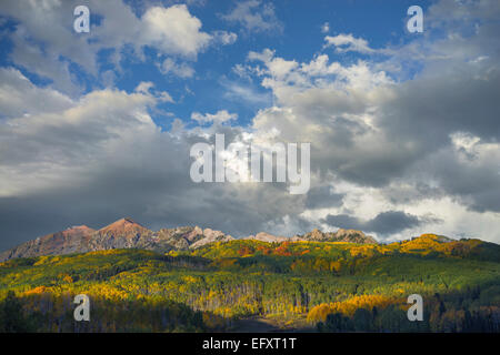 Gunnison National Forest, CO: Clouds over the Ruby Range in early fall - Stock Photo
