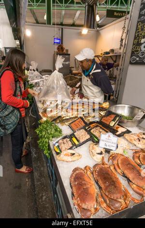 Boroughs Market, Fresh Fish,  Gourmet Food, London United Kingdom, - Stock Photo