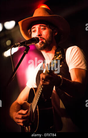 Milan Italy. 10th February 2015. The American singer/songwriter RYAN BINGHAM performs in acoustic set to present - Stock Photo