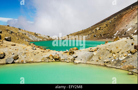 View of the Green Lake at Tongariro Alpine Crossing, New Zealand - Stock Photo