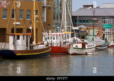 Fishing cutters in the harbor of Buesum, Dithmarschen district, Schleswig-Holstein, North Sea, Germany, Europe - Stock Photo