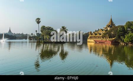 Karaweik on Kandawgyi lake - Stock Photo