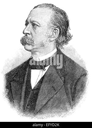 Theodor Fontane, 1819 - 1898, a German novelist and poet, - Stock Photo