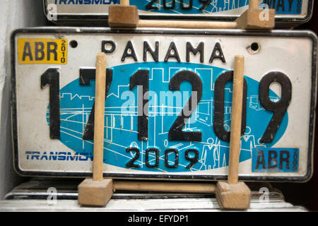 Panama Licence plate souvenir. Old car numberplates and Panama hats for sale , Casco Viejo , Panama City , Panama. - Stock Photo
