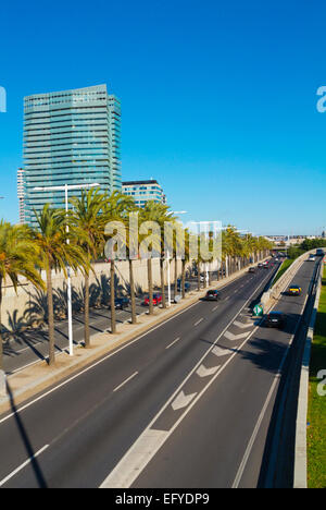 Ronda Litoral, in front of Poblenou and Diagonal Mar areas, Sant Marti district, Barcelona, Spain - Stock Photo