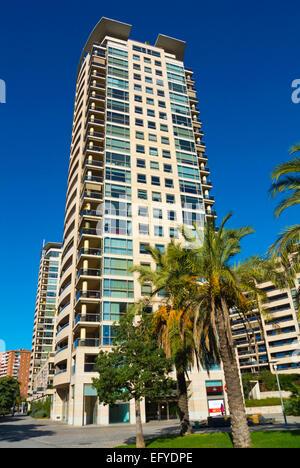Residential blokc of flats, hghrise, Parc de la Diagonalal-Mar, Barcelona, Spain - Stock Photo