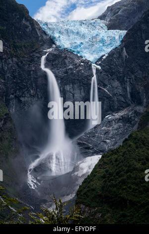 Hanging glacier (Ventisquero colgante). Queulat National Park. Aysén region. Patagonia. Chile - Stock Photo