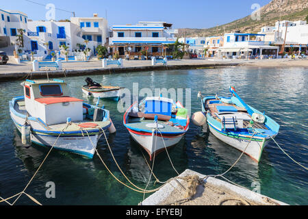Fishing boats in the harbour, Finiki, Karpathos, Dodecanese, South Aegean, Greece - Stock Photo