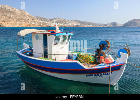 Fishing boat in the harbour, Finiki, Karpathos, Dodecanese, South Aegean, Greece - Stock Photo