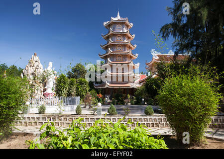 Pagoda tower of the Dieu An Pagoda, Thap Cham, Phan Rang, Ninh Thuan, Vietnam - Stock Photo