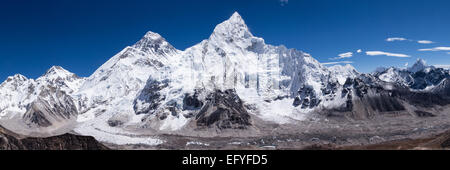 A panoramic shot of Mount Everest and Nuptse - Stock Photo