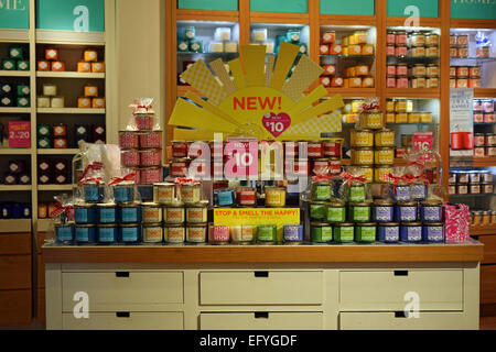 Scented candles for sale at a Bath   Body Works store in the Roosevelt  Field Mall. Scented candles for sale at a Bath   Body Works store on Austin