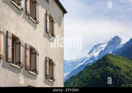 Bellevue Hotel with Mont Blanc behind, above the Chamonix Valley, French Alps, France, Europe - Stock Photo