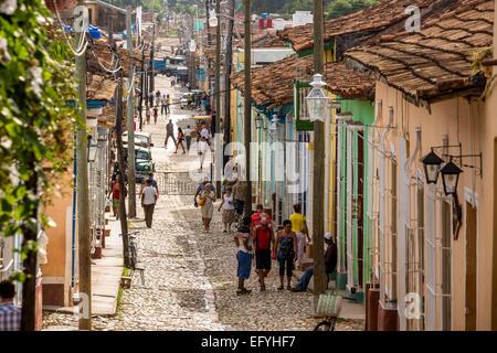Street scene, old town, Trinidad, Sancti Spiritus Province, Cuba - Stock Photo