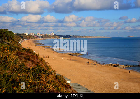 Branksome beach Poole Dorset England UK near to Bournemouth known for beautiful sandy beaches - Stock Photo