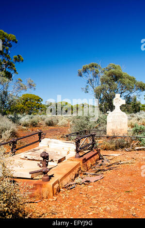 Old graves and headstones in an early settler cemetery at Kanowna, about 20km east of Kalgoorlie, Western Australia. - Stock Photo