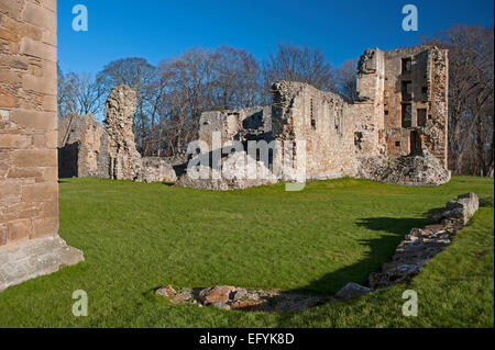The South East section of Spynie Palace, viewed from the side of the David's Tower.   Elgin.    9555 - Stock Photo