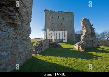 The view to David's Tower or Castle from the walls of Spynie Palace. at Elgin.   SCO 9556 - Stock Photo