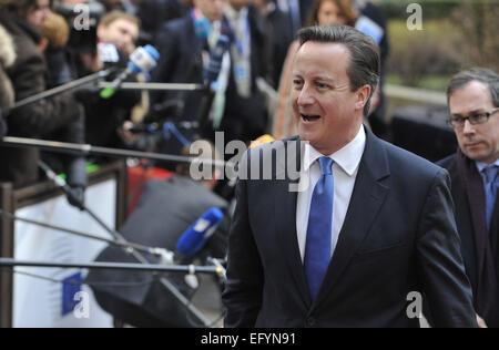 (150212) -- BRUSSELS, Feb. 12, 2015 (Xinhua) -- Britain's Prime Minister David Cameron arrives at EU headquarters for an EU summit in Brussles, Belgium, Feb. 12, 2015. (Xinhua/Ye Pingfan) Stock Photo