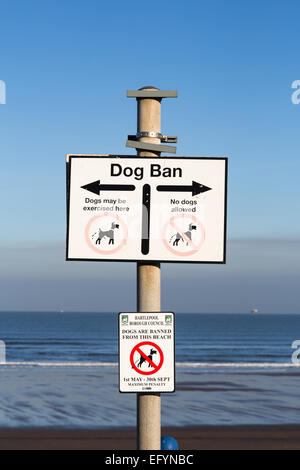 Dog ban sign at Seaton Carew - Stock Photo