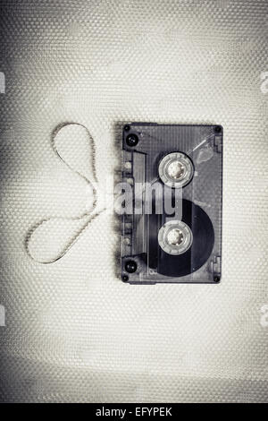 Top view of vintage transparent cassette tape - Stock Photo