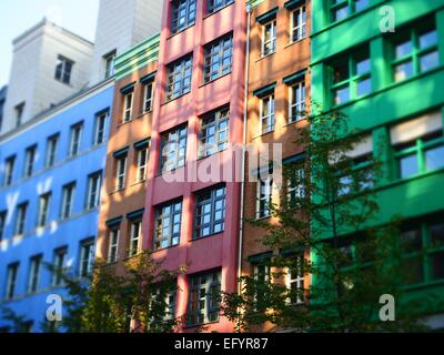 Modern colorfull buildings - containing flats and offices - are seen in Berlin Mitte on October 05, 2014. Photo: - Stock Photo