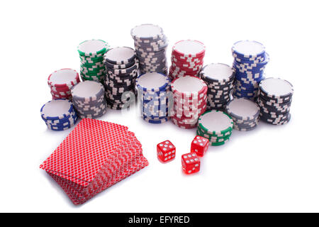 Pokerchips with dices and cards isolated on white. - Stock Photo