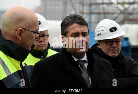 Kiel, Germany. 12th Feb, 2015. German Minister of Economics and Technology and Vice Chancellor of Germany Sigmar - Stock Photo