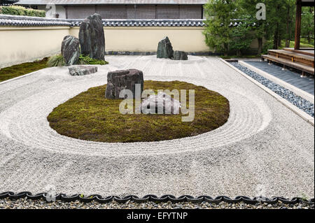 Ryogen-in Temple, Daitoku-ji, Kyoto, Japan. The 'turtle island' in the Isshidan garden - Stock Photo