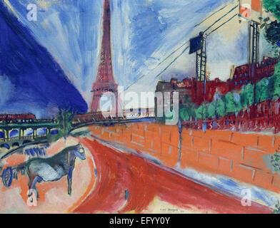 Marc Chagall  Le Pont de Passy et la Tour Eiffel - Stock Photo