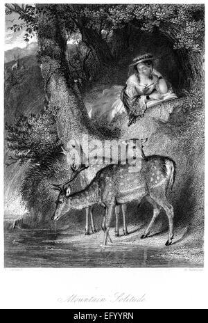 An engraving entitled 'Mountain Solitude' scanned at high resolution from a book printed in 1845. - Stock Photo