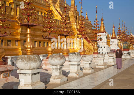 Golden temple / Shwezigon Pagoda, Buddhist temple in Nyaung-U near Bagan, Mandalay Region, Myanmar / Burma - Stock Photo