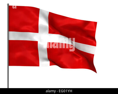 Waving Danish flag isolated over black background - Stock Photo