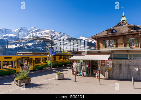 Wengen train station, Bernese Oberland, Swiss Alps, Switzerland, Europe - Stock Photo