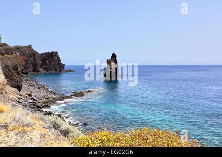 Rocky coast at El Hierro island, Canaries - Stock Photo