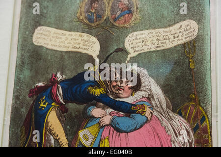 Pictured: caricature 'The First Kiss this Ten Years! by James Gillray, 1803, hand-coloured etching and aquatint. - Stock Photo