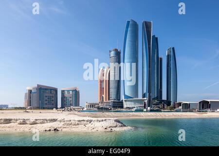 Etihad Towers in Abu Dhabi City, United Arab Emirates - Stock Photo