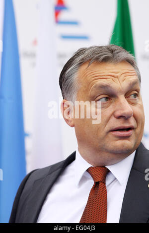 Italy, Milan:10/17/2014. Hungarian Prime Minister Viktor Orban prior to the start of a session at the ASEM Summit. - Stock Photo