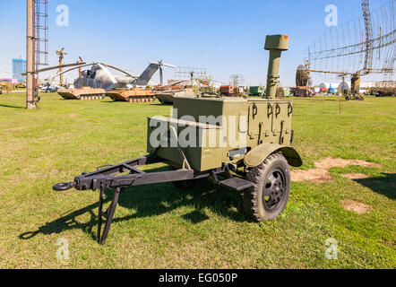 Mobile metal kitchen stove to feed soldiers at the technical museum in Togliatti, Russia - Stock Photo