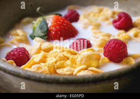 Cornflakes with milk and berries in ceramic bowl - Stock Photo