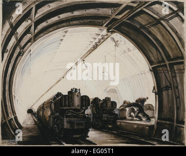 Artwork for a poster. Subject: Mail Rail. Artist: Rethi, Lili. Media: Paper on board, poster paint, watercolour - Stock Photo
