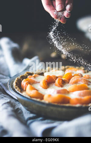 Apricot custard tart with crumble crust dessert - Stock Photo