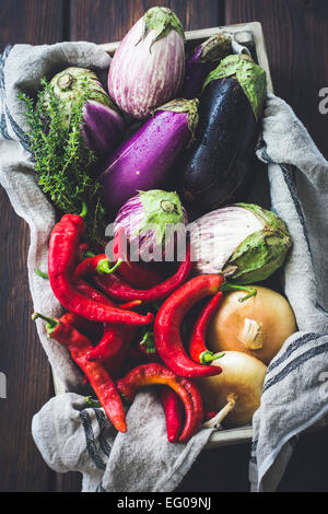 Summer vegetables in a crate - Stock Photo