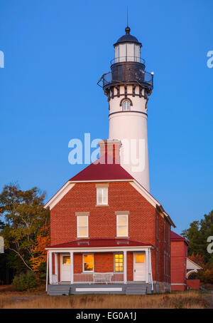 Pictured Rocks National Lakeshore, MI: Au Sable Light Station (1874) on Au Sable Point at dawn - Stock Photo