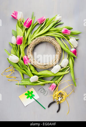 Spring tulips flowers wreath making on gray background , top view - Stock Photo