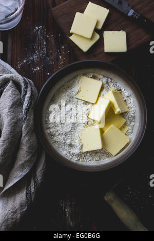 Butter and flour in a mixing bowl - Stock Photo