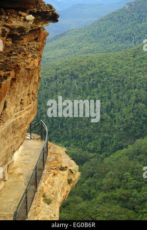 The view of Wentworth Falls from National Pass in the Blue Mountains, near Sydney in Australia. - Stock Photo